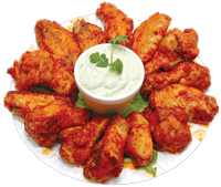 roasted wings. All wings are served with ranch dressing